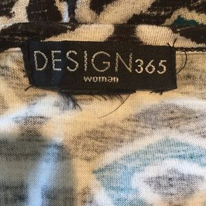 Design 365 Dresses - 1X Knit Maxi in black, white and teal accents